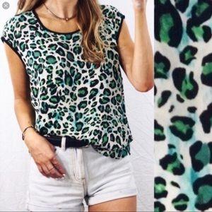 CAbi Cheetah Jungle Envy Green Blouse